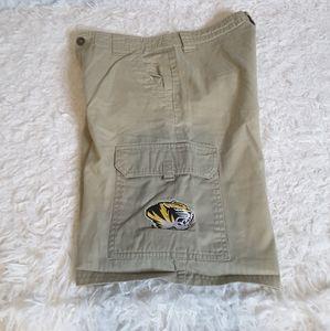 3/$30 NCAA University of Missouri khaki shorts